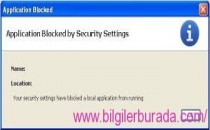 Application Blocked by Security Settings Hatası ve çözümü
