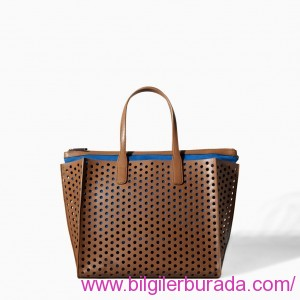 ZARA-2015-summer-ladies handbags-summer-PERFORATED-SHOPPER-BAG-DARKBROWN